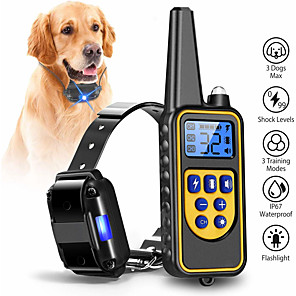 cheap Fans-Dog Collar Training Anti Bark Electric LCD Display Remote Control Shock / Vibration Classic Metalic Plastic Black