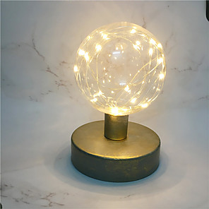 cheap LED String Lights-Globe Shape Led Night Lamp Creative Retro Style Metal Copper Wire Lantern Round Modeling Bedside Lamp Home Table Art Decor Lighting AA Battery Power come without battery)