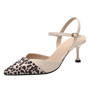 cheap Women's Boots-Women's Heels Print Shoes Stiletto Heel Pointed Toe Suede Spring & Summer Almond / Black / Leopard / Daily / 3-4