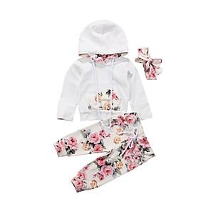 cheap Kids' Flats-Baby Girls' Basic Floral Long Sleeve Regular Clothing Set White