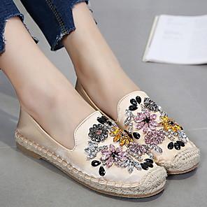 cheap Women's Boots-Women's Loafers & Slip-Ons Flat Heel Round Toe Canvas Summer Black / Almond