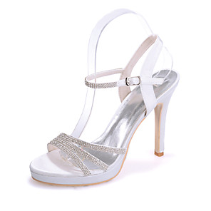 cheap Wedding Shoes-Women's Wedding Shoes Stiletto Heel Open Toe Sparkling Glitter Satin Sweet Spring & Summer White / Purple / Red / Party & Evening