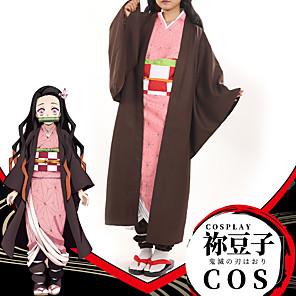 cheap Anime Costumes-Inspired by Demon Slayer: Kimetsu no Yaiba Cosplay Kamado Nezuko Anime Cosplay Costumes Japanese Coat Underwear Belt For Women's / Headwear / Sash / Ribbon / Headwear / Sash / Ribbon