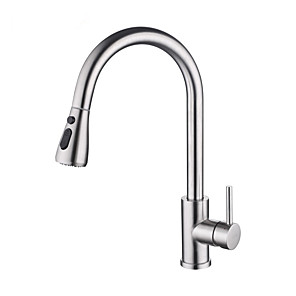 cheap Kitchen Faucets-Kitchen faucet - Single Handle One Hole Stainless Steel Pull-out / Pull-down Centerset Contemporary Kitchen Taps Smart Touch Induction 304 Stainless Steel Hot And Cold Water Mixer Kitchen Sink Faucet
