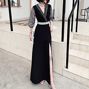 cheap Wedding Wraps-A-Line Glittering Black Wedding Guest Formal Evening Dress V Neck Long Sleeve Floor Length Spandex with Sash / Ribbon Crystals 2020 / Illusion Sleeve
