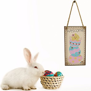 cheap Christmas Decorations-1pc Happy Easter bunny egg decoration object home living door hangable20*10*0.5 cm
