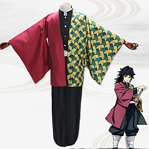 cheap Anime Costumes-Inspired by Demon Slayer: Kimetsu no Yaiba Tomioka Giyuu Anime Cosplay Costumes Japanese Cosplay Suits Coat Top Pants For Men's / Belt