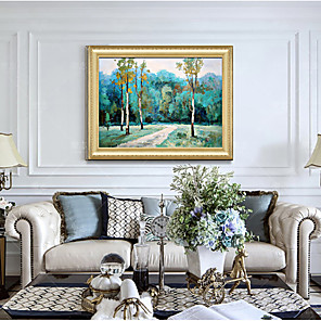 cheap Framed Arts-Framed Art Print Green Country Scenery Forest Path Living Room Dining Room Wall Canvas Art Deco Hangs Pictures