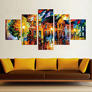 cheap Video Door Phone Systems-5 Panels Modern Canvas Prints Painting Home Decor Artwork Pictures DecorPrint Rolled Stretched Modern Art Prints Abstract Landscape
