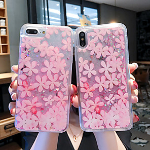 cheap iPhone Cases-Case For Apple iPhone 11 / iPhone 11 Pro / iPhone 11 Pro Max Shockproof / Flowing Liquid / Pattern Back Cover Transparent / Glitter Shine / Flower PC