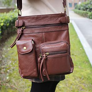 cheap Men's Sandals-Men's Zipper Nappa Leather Crossbody Bag Solid Color Brown