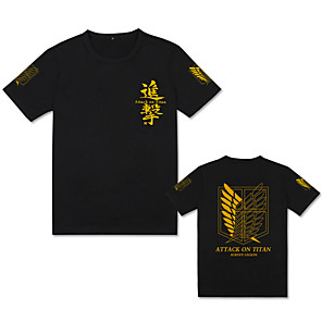 cheap Everyday Cosplay Anime Hoodies & T-Shirts-Inspired by Attack on Titan Cosplay Costume T-shirt Pure Cotton Print T-shirt For Men's / Women's