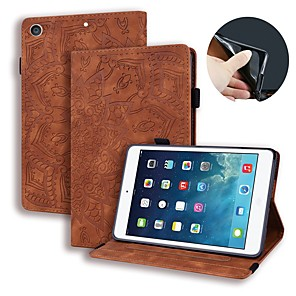 cheap iPad case-Case For Apple iPad Air / iPad 4/3/2 / iPad (2018) Wallet / Card Holder / Embossed Full Body Cases Solid Colored / Flower PU Leather / iPad (2017)