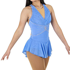 cheap Exercise, Fitness & Yoga Clothing-Figure Skating Dress Women's Girls' Ice Skating Dress Sky Blue Spandex High Elasticity Competition Skating Wear Patchwork Crystal / Rhinestone Sleeveless Ice Skating Figure Skating / Kids