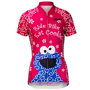 cheap Cycling Jerseys-21Grams Women's Short Sleeve Cycling Jersey Polyester Spandex Red+Blue Cartoon Bike Jersey Top Mountain Bike MTB Road Bike Cycling UV Resistant Breathable Quick Dry Sports Clothing Apparel / Stretchy