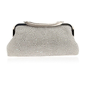 cheap Clutches & Evening Bags-Women's Crystals / Hollow-out Alloy Evening Bag Solid Color Gold / Silver