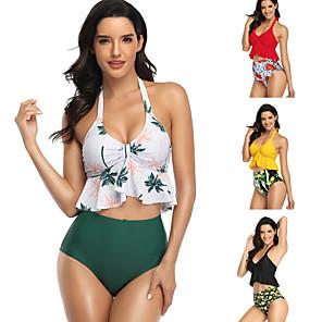 cheap Athletic Swimwear-Women's 2-Piece One Piece Swimsuit Swimwear Swimwear Yellow White Red Quick Dry High Elasticity Swimming Surfing Beach Spring Summer / Bra / Shorts / Bikini / Tankini / Spandex