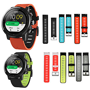 cheap Smartwatch Bands-HANGRUI Double Sided Silicone Wristband Bracelet Band For Xiaomi Huami Amazfit GTR 47mm/Amazfit Stratos 2 2S Quick Release Strap