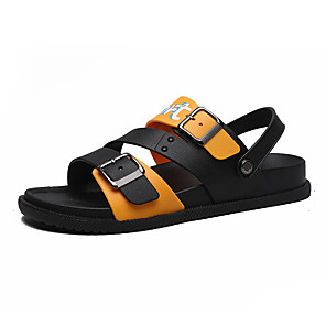 cheap Men's Sandals-Men's Rubber Summer / Spring & Summer Sandals Breathable Orange / Black / Orange / Black