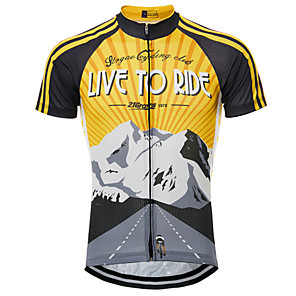 cheap Cycling Jerseys-21Grams Men's Short Sleeve Cycling Jersey Black / Yellow Retro Bike Jersey Top Mountain Bike MTB Breathable Quick Dry Moisture Wicking Sports Clothing Apparel / Micro-elastic / Back Pocket / Race Fit