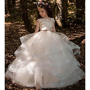 cheap Movie & TV Theme Costumes-Princess Sweep / Brush Train Communion Dresses - Tulle / Polyester Sleeveless Jewel Neck with Pick Up Skirt / Solid