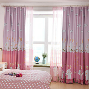 cheap Curtains Drapes-Gyrohome 1PC Rabit Garden Shading High Blackout Curtain Drape Window Home Balcony Dec Children Door *Customizable* Living Room Bedroom Dining Room