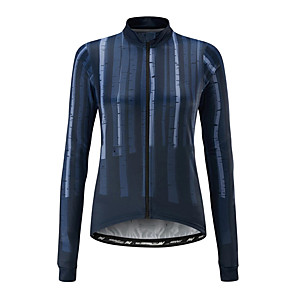 cheap Cycling Jerseys-21Grams Women's Long Sleeve Cycling Jersey Blue Stripes Bike Jersey Top Mountain Bike MTB Road Bike Cycling UV Resistant Breathable Quick Dry Sports Clothing Apparel / Stretchy / Race Fit