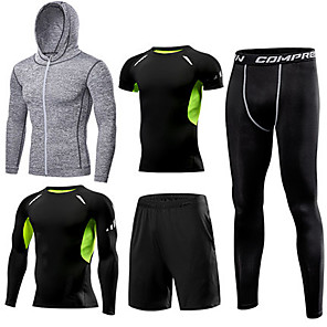 cheap Eyeshadows-1bests Men's Full Zip Activewear Set Workout Outfits Compression Suit 5pcs Winter Running Basketball Fitness Lightweight Breathable Quick Dry Sportswear Compression Clothing Clothing Suit Long Sleeve