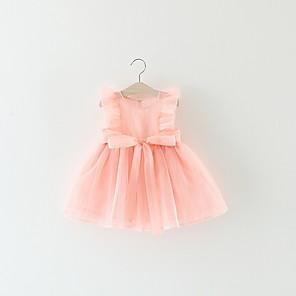 Недорогие Распродажа-малыш Девочки Классический Однотонный Без рукавов Платье Розовый