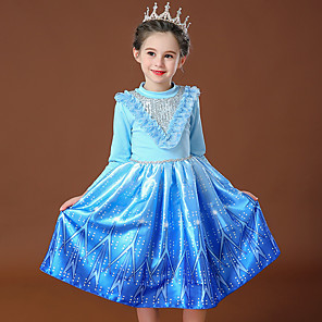 cheap Movie & TV Theme Costumes-Princess Elsa Dress Flower Girl Dress Girls' Movie Cosplay Cosplay Costume Party Pink / Blue Dress Sequin Polyster