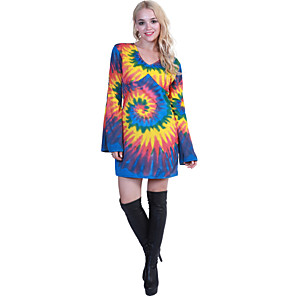 cheap Historical & Vintage Costumes-Hippie Diva Disco 1980s Dress Women's Costume Rainbow Vintage Cosplay Party Long Sleeve