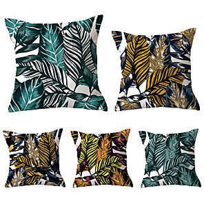 cheap Pillow Covers-5 pcs Polyester Nonwovens Pillow Cover, Geometric Leaf Simple Vintage Square Traditional Classic