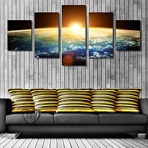 cheap Prints-5 Panels Modern Canvas Prints Painting Home Decor Artwork Pictures DecorPrint Rolled Stretched Modern Art Prints Landscape Celestial