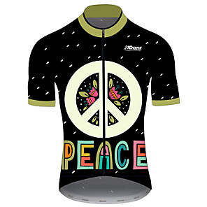 cheap Cycling Jerseys-21Grams Men's Short Sleeve Cycling Jersey Black / Green Floral Botanical Bike Jersey Top Mountain Bike MTB Road Bike Cycling UV Resistant Breathable Quick Dry Sports Clothing Apparel / Stretchy