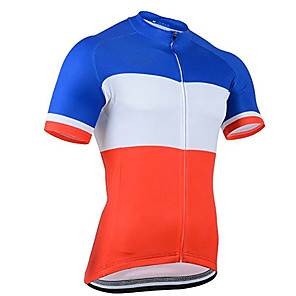 cheap Cycling Jerseys-21Grams Men's Short Sleeve Cycling Jersey Red / White Patchwork France National Flag Bike Jersey Top Mountain Bike MTB Road Bike Cycling UV Resistant Breathable Quick Dry Sports Clothing Apparel