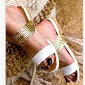 cheap Women's Sandals-Women's Sandals Flat Sandal Summer Flat Heel Open Toe Daily PU White / Black / Pink