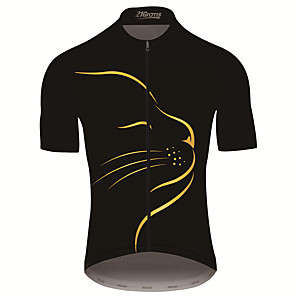 cheap Cycling Jerseys-21Grams Men's Short Sleeve Cycling Jersey Black / Yellow Cat Animal Bike Jersey Top Mountain Bike MTB Road Bike Cycling UV Resistant Breathable Quick Dry Sports Clothing Apparel / Stretchy / Race Fit