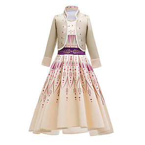 cheap Movie & TV Theme Costumes-Princess Anna Dress Flower Girl Dress Girls' Movie Cosplay Cosplay Costume Party Purple (With Accessories) / Beige Coat Dress Polyster