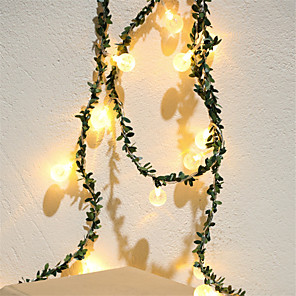 cheap LED String Lights-3M 20Led Green Leaf Garland String Lights Battery Powered Christmas Fairy Light Valentine Wedding Holiday Party Decoration Lights (come without battery)