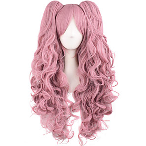 cheap Costume Wigs-Synthetic Wig Curly Halloween Asymmetrical Wig Pink Long Pink Synthetic Hair 28 inch Women's Best Quality Pink