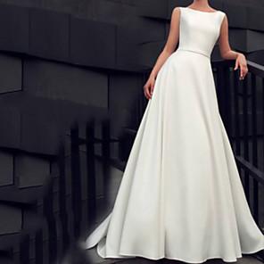 cheap Kids' Dancewear-A-Line Wedding Dresses Jewel Neck Floor Length Satin Sleeveless Beach with Sashes / Ribbons 2020