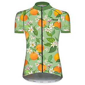 cheap Cycling Jerseys-21Grams Women's Short Sleeve Cycling Jersey Green / Yellow Floral Botanical Fruit Bike Jersey Top Mountain Bike MTB Road Bike Cycling UV Resistant Breathable Quick Dry Sports Clothing Apparel