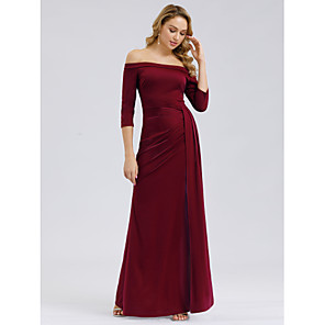 cheap Wedding Wraps-Mermaid / Trumpet Maternity Red Wedding Guest Formal Evening Dress Off Shoulder 3/4 Length Sleeve Floor Length Polyester with Split 2020