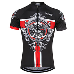 cheap Cycling Jerseys-21Grams Skull Men's Short Sleeve Cycling Jersey - Black / Red Bike Jersey Top Breathable Quick Dry Sweat-wicking Sports Terylene Mountain Bike MTB Road Bike Cycling Clothing Apparel / Micro-elastic