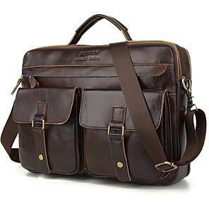 cheap Women's Boots-Men's Zipper PU Top Handle Bag Solid Color Black / Brown