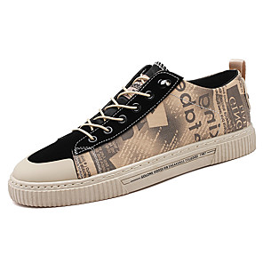 cheap Men's Sneakers-Men's Canvas Summer / Spring & Summer Casual Sneakers Walking Shoes Breathable Khaki / Black