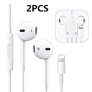 cheap Wired Earbuds-2Pcs Wired Earphones Lighting TWS In-ear Bluetooth headset for Smart iPhone 7 8 earphone X XS 11 pro Max Earbuds with Microphone