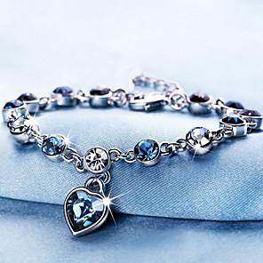 cheap Bracelets-Women's Crystal Crystal Bracelet Classic Heart Sweet Cute Rhinestone Bracelet Jewelry Blue For Wedding Party