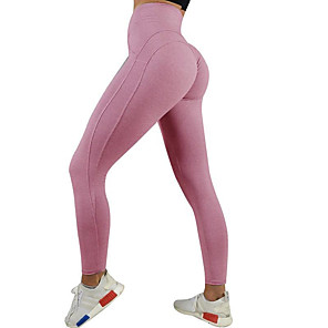 cheap Exercise, Fitness & Yoga Clothing-Women's High Waist Yoga Pants Ruched Butt Lifting Cropped Leggings Butt Lift Black Pink Blue Gym Workout Running Fitness Sports Activewear High Elasticity Skinny