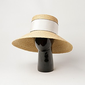 cheap Party Hats-Straw Straw Hats with Braided Strap 1 Piece Casual / Outdoor Headpiece